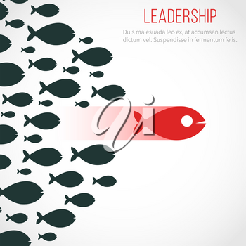 Business leadership vector concept with red leader fish and winning team. Leadership business, fish group illustration