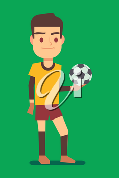 Soccer player holding a ball green field vector illustration. Sport football player with ball