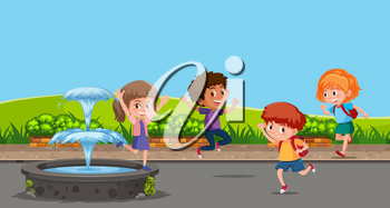 Happy children playing next to fountain illustration