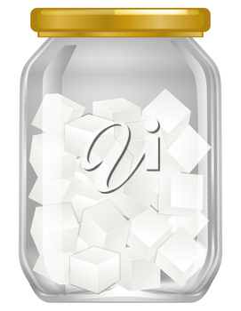 A jar of cube sugar illustration