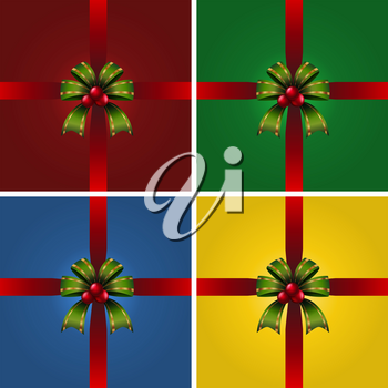 Four present boxes with green ribbons illustration