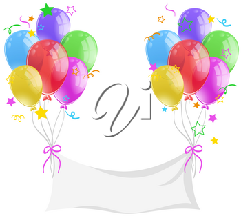 Blank banner with colorful balloons illustration