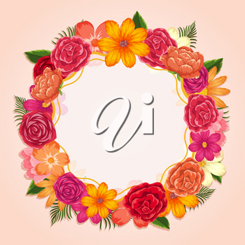Ring of colorful flowers on white background illustration