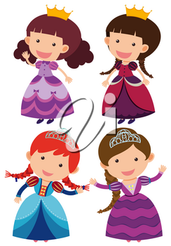 Four cute princesses on white background illustration