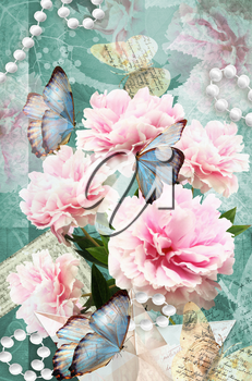 Postcard flower. Congratulations card with peonies, butterflies and pearls. Beautiful spring pink flower. Can be used as greeting card, invitation for wedding, birthday and other holiday happening.