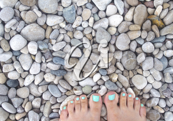 Women's feet on the background of sea stones. Legs on a colorful sea pebbles.
