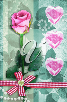 Beautiful pink rose on stem with leaf isolated on green background. Single rose Valentine's Day card. Pink roses with pink hearts. Can be used as valentine card, invitation card for wedding.