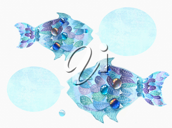 Art blue fishes with scales as an leaves. Hand drawn illustration. Floral fishes with speech bubbles. Creative design. Composition with cute abstract fishes ornamented with leaves.