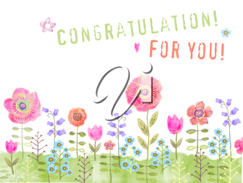 Cheerful meadow flowers growing. Floral background. Congratulation card with flowers on a white background.