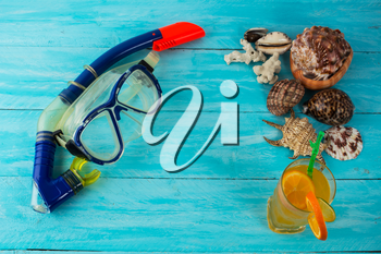 Sea holidays background. Beach party. Sea shells. Adventure. Snorkeling mask. Diving mask. Watersport. Sea vacation. Sea holidays