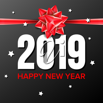 2019 Happy New Year Background Vector. Numbers 2019. Bow. Banner, Gift Dark Illustration
