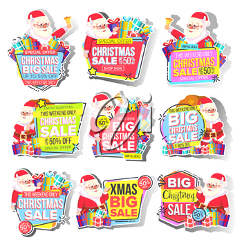 Christmas Big Sale Sticker Set Vector. Santa Claus. Template For Advertising. Discount Tag, Special Offer Banner. Up To 50 Percent Off Badges. Black Friday Promo Icon. Buy Label. Illustration