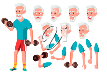 Old Man Vector. Senior Person. Aged, Elderly People. Cute, Comic. Joy. Face Emotions, Various Gestures. Animation Creation Set Isolated Flat Character Illustration