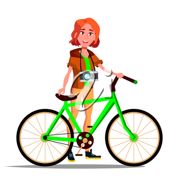 Teen Girl With Bicycle Vector. City Bike. Outdoor Sport Activity. Eco Friendly. Illustration