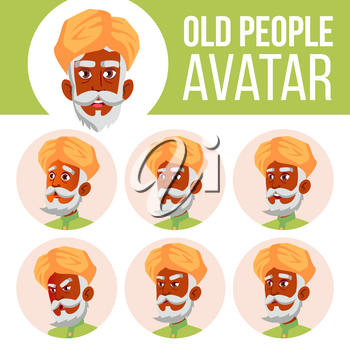 Indian Old Man Avatar Set Vector. Hindu. Asian. Face Emotions. Senior Person Portrait. Elderly People. Aged. Emotions, Emotional Leisure Smile Head Illustration