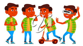 Boy Schoolboy Kid Poses Set Vector. Indian, Hindu. Asian. Primary School Child. Cheerful Pupil. Teenager, Classroom. For Postcard, Announcement Cover Design Isolated Cartoon Illustration