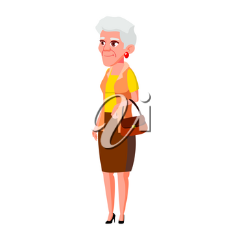 Old Woman Poses Vector. Elderly People. Senior Person. Aged. Cheerful Grandparent. Presentation, Invitation, Card Design. Isolated Cartoon Illustration