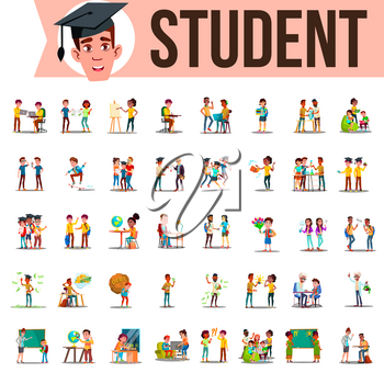 Student Set Vector. Lifestyle Situations. Spending Time, At College, University, Campus, School Home Outdoor Isolated Illustration