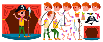 Boy Schoolboy Kid Vector. Primary School Child. Animation Creation Set. Student Activity. Public Performance. For Postcard, Announcement, Cover Design. Face Emotions, Gestures. Illustration