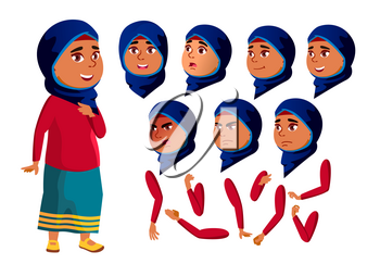 Arab, Muslim Teen Girl Vector. Teenager. Face. Children. Face Emotions, Various Gestures. Animation Creation Set. Isolated Flat Character Illustration