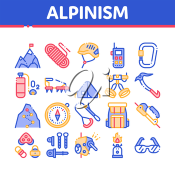 Alpinism Collection Elements Vector Icons Set Thin Line. Compass And Glasses, Mountain Direction And Burner Mountaineering Alpinism Equipment Concept Linear Pictograms. Color Contour Illustrations