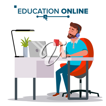 Education Online Vector. Home Online Training Course. Young Handsome Man In Headphones Sitting. Modern Study Technology. Isolated Flat Cartoon illustration