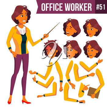 Office Worker Vector. Woman. Happy Clerk, Servant, Employee. Business Human. Face Emotions, Various Gestures. Animation Creation Set Isolated Character Illustration