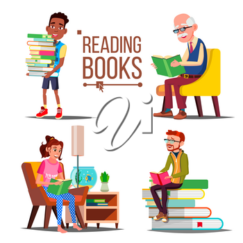 People Reading Books Vector. Big Stack Of Books. Education. Paper Book. Library. Man, Woman, Old Man, Child Isolated Cartoon Illustration