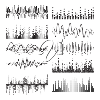 Music Sound Waves Vector. Classic Sound Wave From Equalizer. Audio Technology, Musical Pulse. Illustration