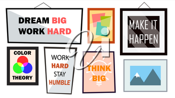 Office Interior Pictures Set Vector. Different Frames With Motivational Text. Illustration
