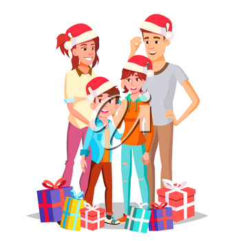 Christmas Family Portrait Vector. Parents, Children. Happy. New Year Gifts. Traditional Event. Poster, Advertising Template Isolated Cartoon Illustration