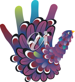 Colorful thanksgiving design with cute hand print turkey.