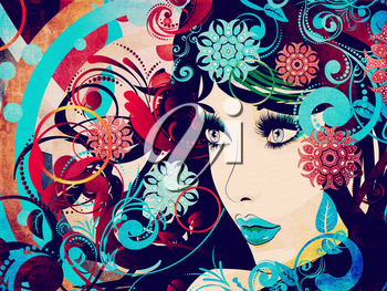 Decorative colorful snowflakes, floral ornament and female portrait, grunge background.