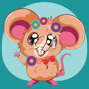 Cartoon kawaii anime mouse or rat with colorful flowers design.