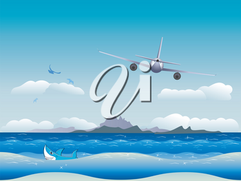 Big airplane fly in the sky over seascape background.