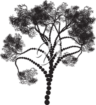 Decorative stylized tree design, abstract black silhouette.