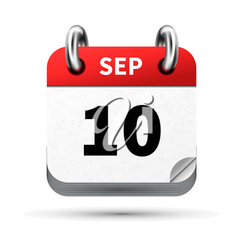 Bright realistic icon of calendar with 10 september date on white