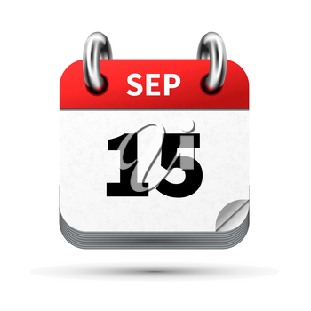 Bright realistic icon of calendar with 15 september date on white