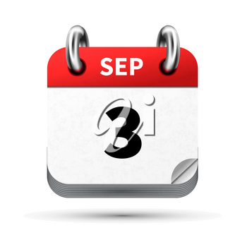 Bright realistic icon of calendar with 3 september date on white