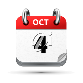 Bright realistic icon of calendar with 4 october date on white