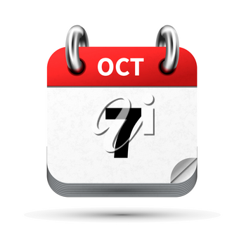 Bright realistic icon of calendar with 7 october date on white