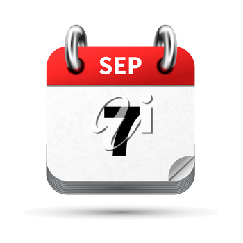 Bright realistic icon of calendar with 7 september date on white