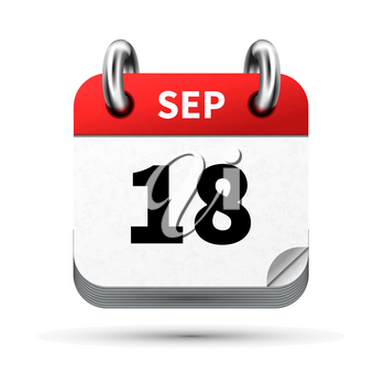 Bright realistic icon of calendar with 18 september date on white