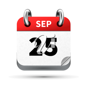 Bright realistic icon of calendar with 25 september date on white