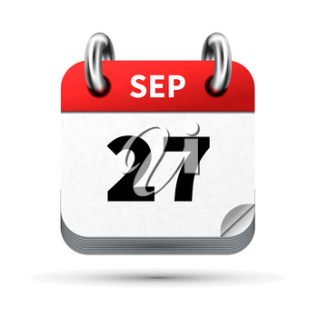 Bright realistic icon of calendar with 27 september date on white
