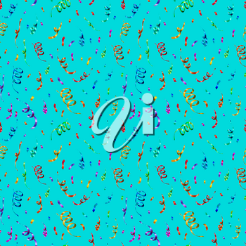 A lot of bright colorful confetti and serpentine on blue background, anniversary party seamless pattern