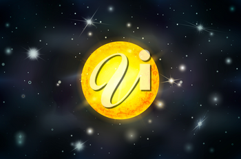 Bright yellow sun star with light rays on deep space background with bright stars and constellations
