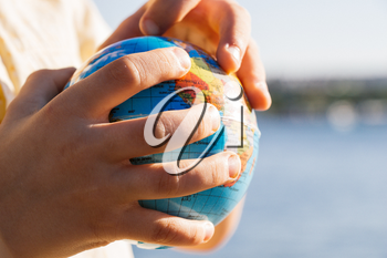 Earth globe in hands as Environment and save planet  concept