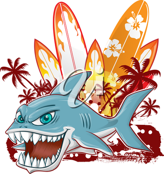 shark character cartoon over surfboard isolated on white background