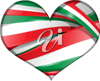 Italian and mexican background heart flag